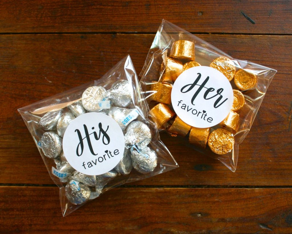 his and hers wedding favor candy