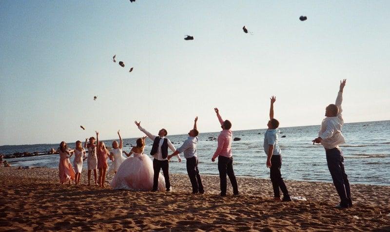 beach wedding guests