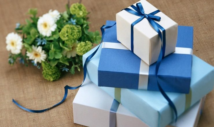 gifts in blue wrapping