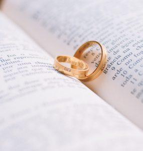 wedding rings on bible