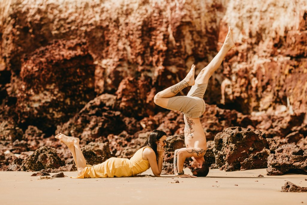 yoga engagement photo