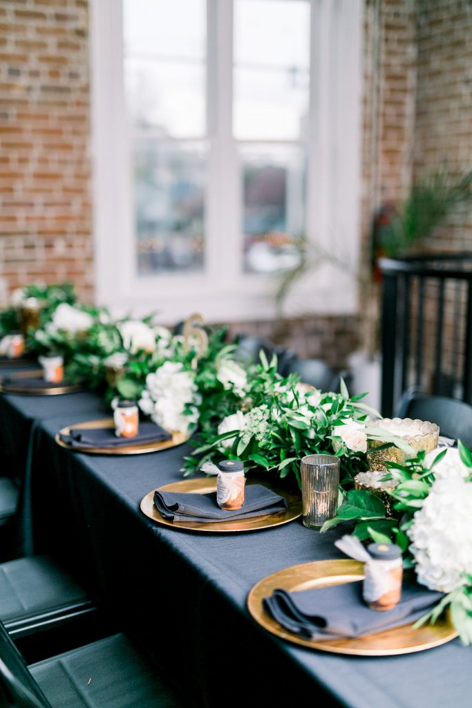 black with green wedding