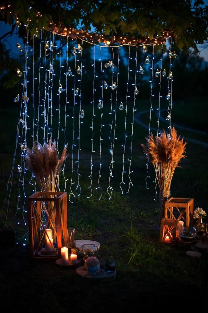 string light wedding arch