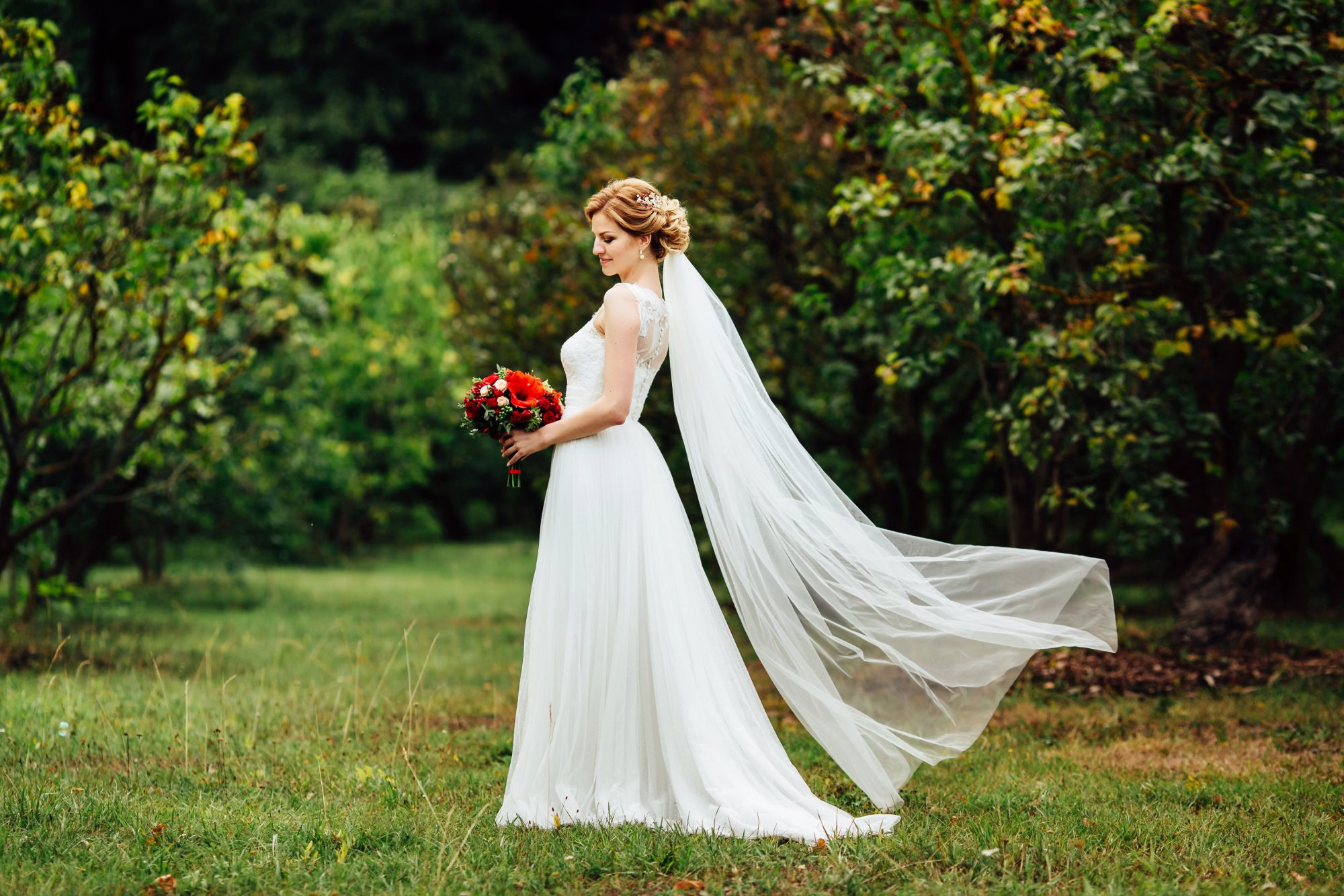 wedding veil to mid calf