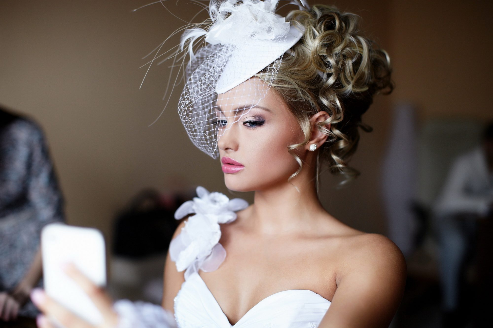 woman wearing birdcage wedding veil
