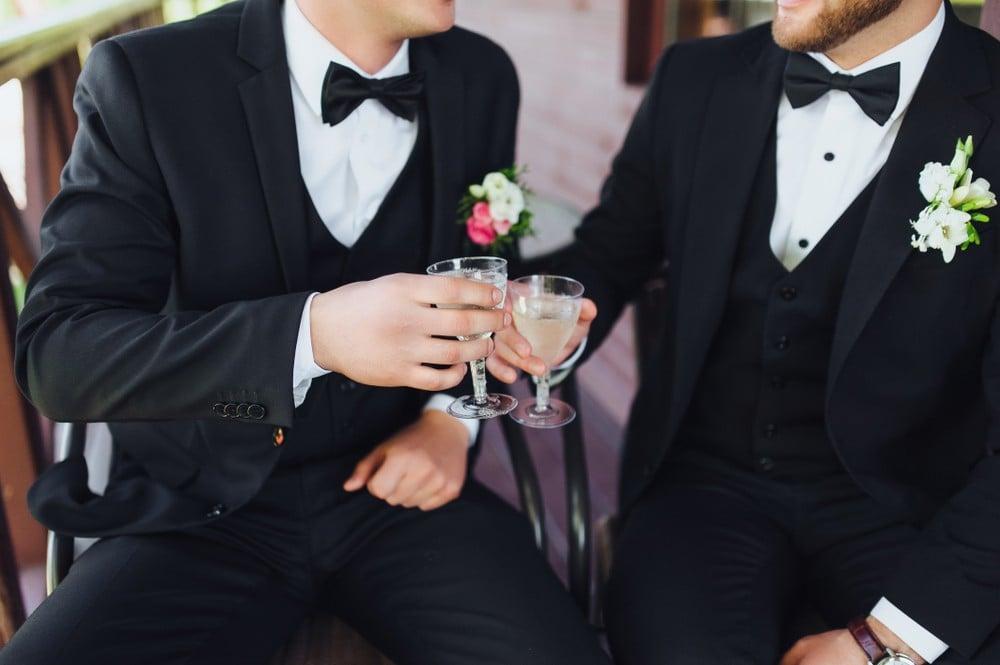 black tie champagne toast
