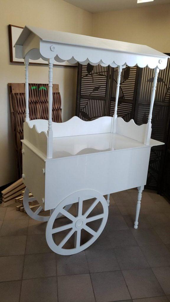 white dessert cart