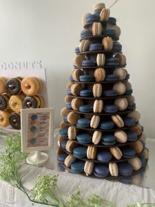 wooden tower of macarons