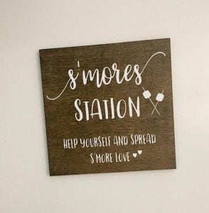smore station wooden sign