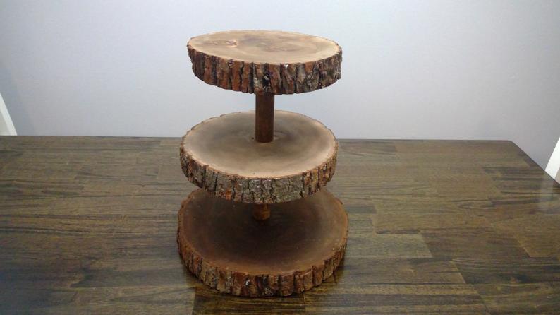 wooden dessert display