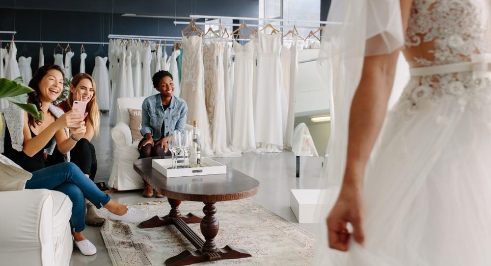 women wedding dress shopping