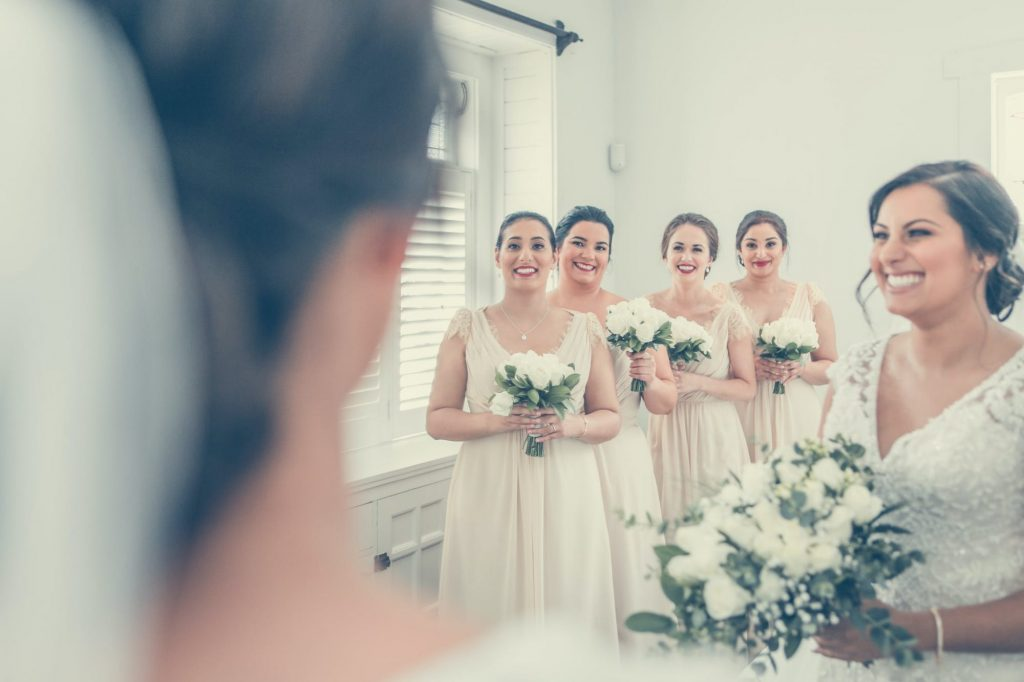 bridal party after getting their wedding hair and makeup done