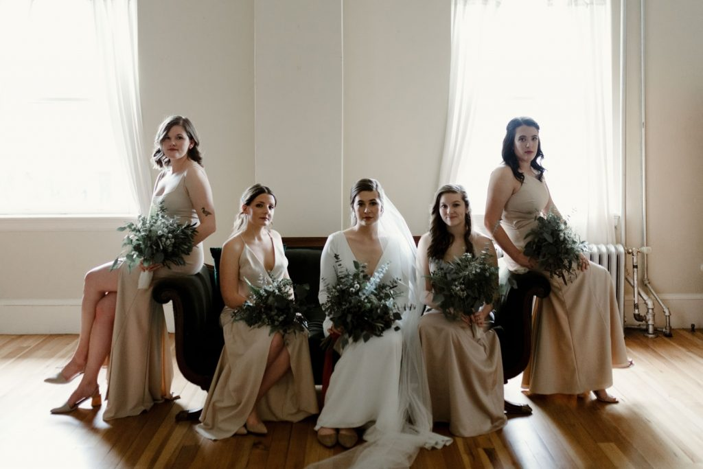 wedding hair and makeup done for a bridal party