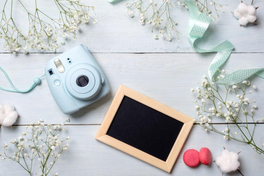 polaroid camera and decor