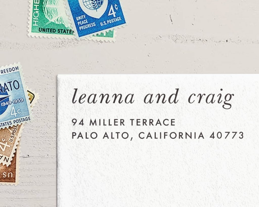 couple address stamp