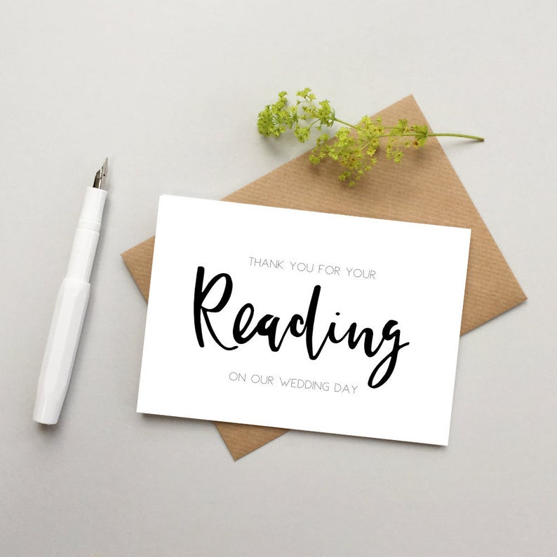 reading thank you card