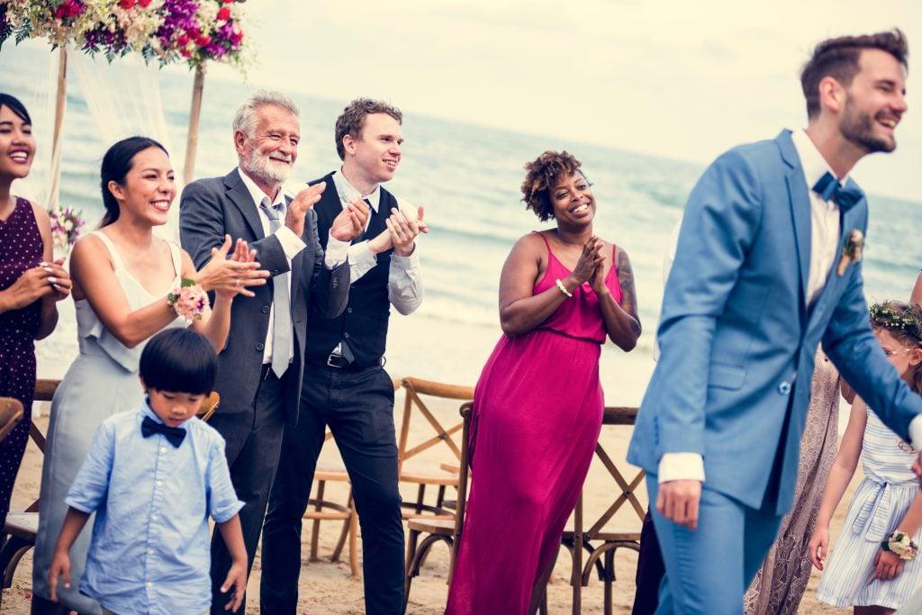 woman at beach wedding