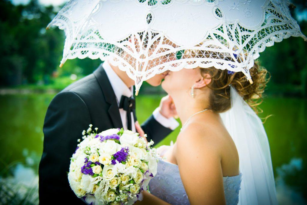 parasols at spring wedding